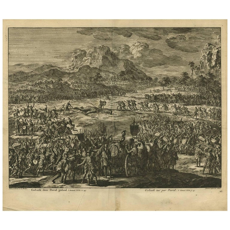 Antique Bible Print David Kills Goliath by J. Luyken, 1743
