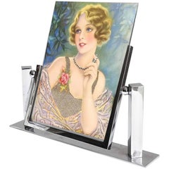 Large French Art Deco Chrome Picture Photo Frame , 1930s Modernist Design