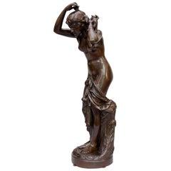 "Late 19th Century Bronze Sculpture, ""First Mirror"" After Baujault Jean-Baptiste"