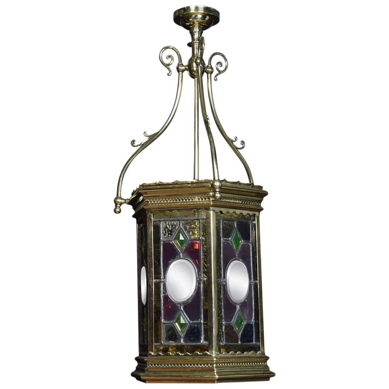 Victorian Stained Glass Hall Lantern
