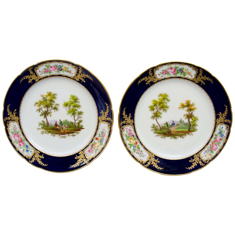 French Late 19th Century Pair of Porcelain Plates, Hunting Scenes ...