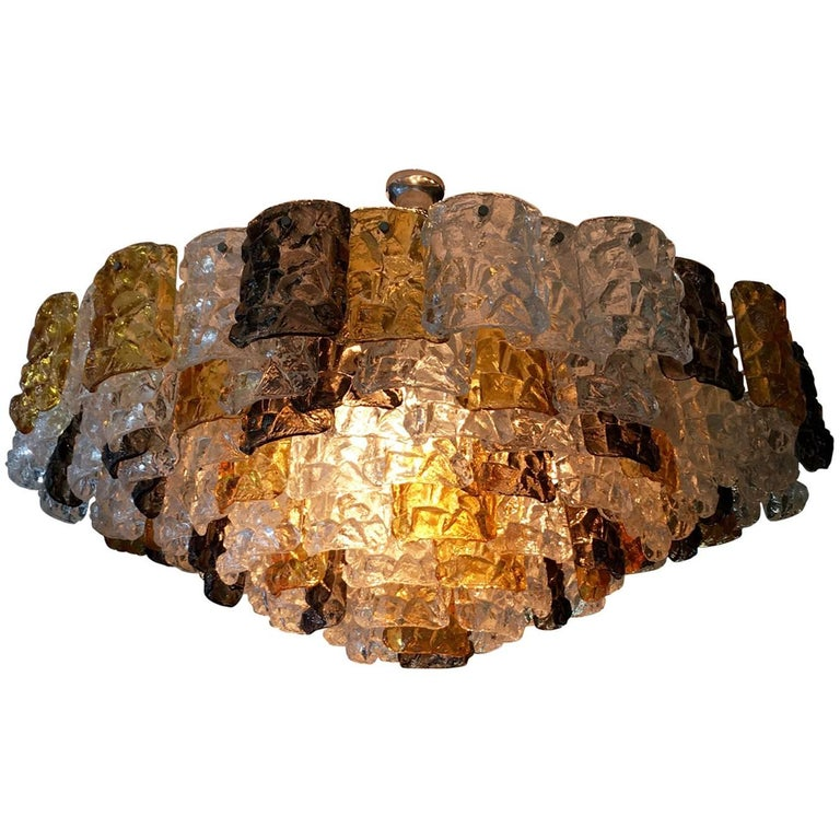 1960s Rare Large Murano Glass Chandelier, Amber, Clear and Brown, by Mazzega
