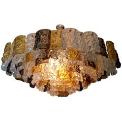 1960s Rare Large Murano Glass Chandelier, Amber, Clear and Brown by Mazzega