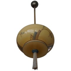 Art Deco Asian American Style Glass Pendant Lantern with Hand Knotted Tassel