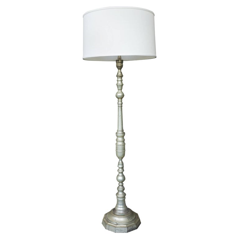 1940s, French Silvered Bronze Floor Lamp