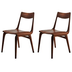 1950s Set of Two Erik Christiansen Boomerang Chairs in Teak and Brown Leather