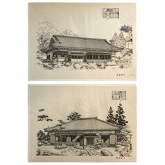 Japan Fine Pair of Vintage Building Prints, Mid-Century Modern