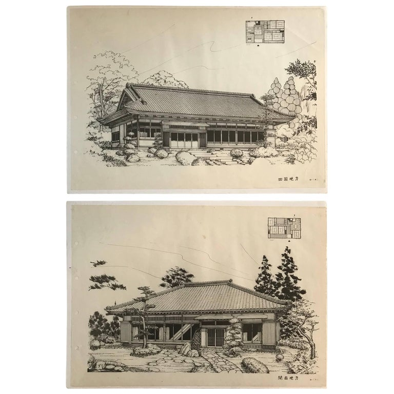 Japan Fine Pair of Vintage Building Prints, Mid-Century Modern