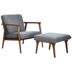 Moooi Zio Lounge Chair and Ottoman in Stained Solid Oak and Fabric or Leather