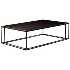 Slate Binate Art Deco Minimal Metal Coffee Table in Steel and Brass