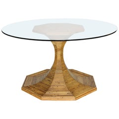 Elegant Vivai del Sud Rattan Bamboo Round Dining or Centre Table, Italy, 1970s