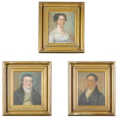 Collection of Three Early 19th Century Naive Family Pastel Portraits