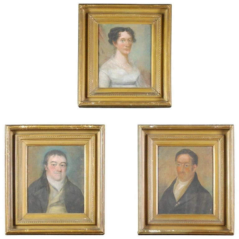 Collection of Three Early 19th Century Naive Family Pastel Portraits For Sale