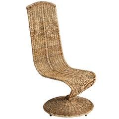 Marizo Cecchi, Woven Rattan Wicker S Chair, Italy, 1970s