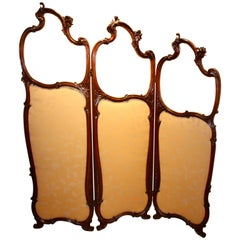 Art Nouveau Mahogany Framed Three-Fold Dressing or Draught Screen