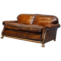 Stunning Aged Brown Leather, circa 1910 Satinwood Claw & Ball Feet Leather Sofa