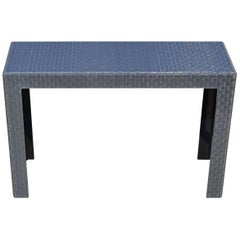 Modern Plexiglass Console Table with Anthracite Grey Metal Mesh Inlay