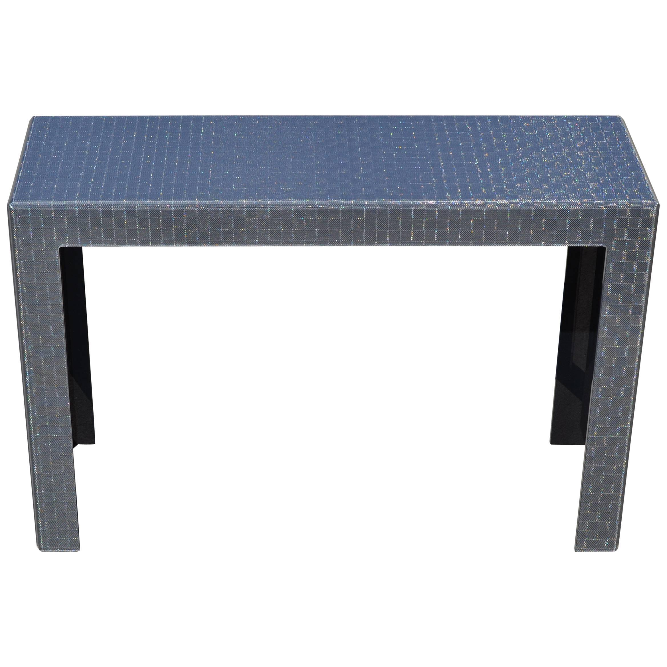 Modern Plexiglass Console Table With Anthracite Grey Metal Mesh Inlay For  Sale