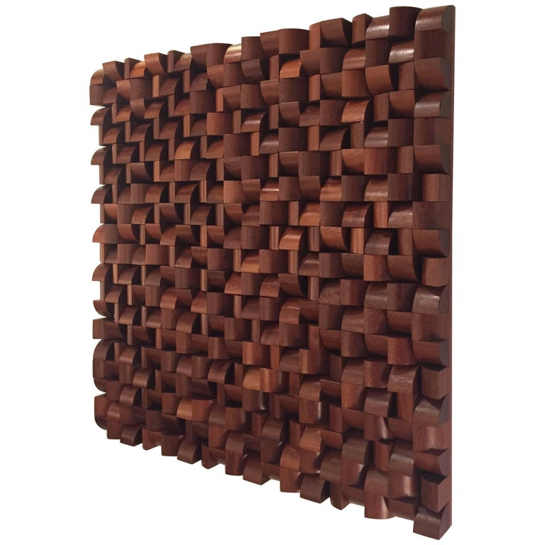 Sapele Wood Abstract Wall Sculpture