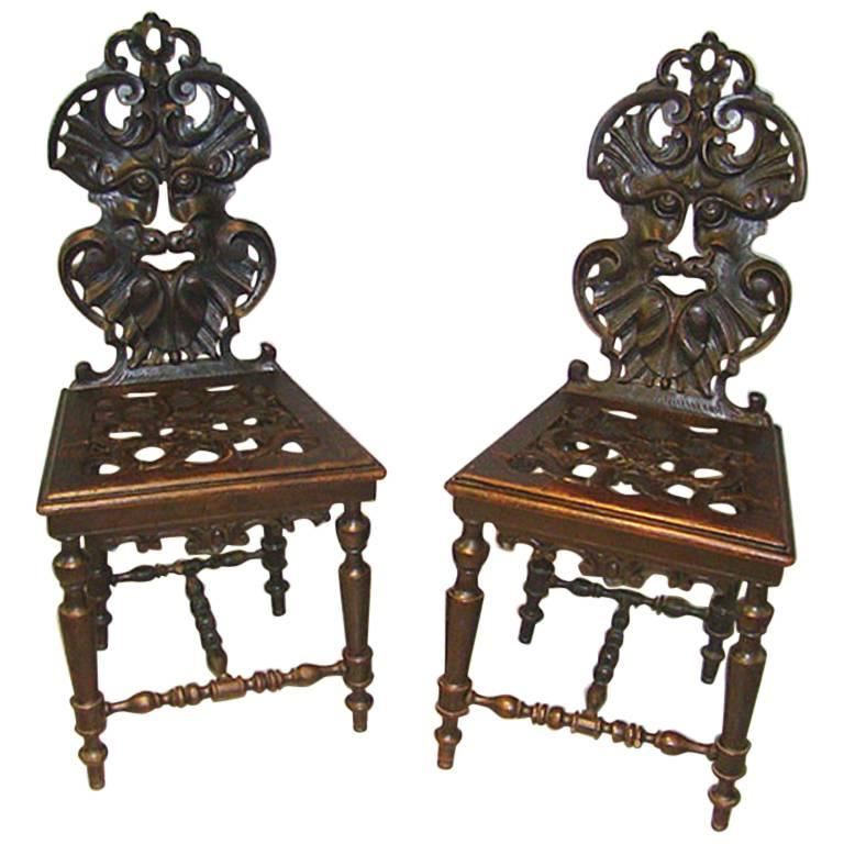 Pair Of Louis XIII Baroque Chairs, Circa 1900 For Sale