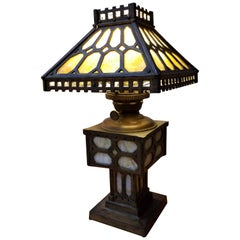 Arts & Crafts Slag Glass and Iron Table Lamp