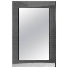 Modern Plexiglass Mirror with Anthracite Grey Metal Mesh Inlay