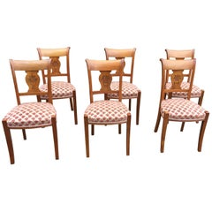 Set of Six Neoclassical Chairs in Cherrywood, circa 1940