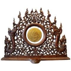 19th Century Burmese Carved Hardwood Dinner Gong