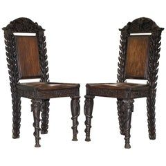 Rare Pair of Anglo-Indian Elephant Chairs, Highly Carved with Birds Flowers