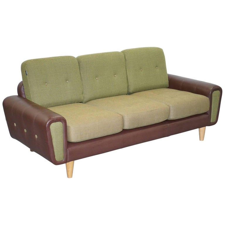 Deadgood harvey three seat brown leather and tweed wool for Leather and tweed sofa