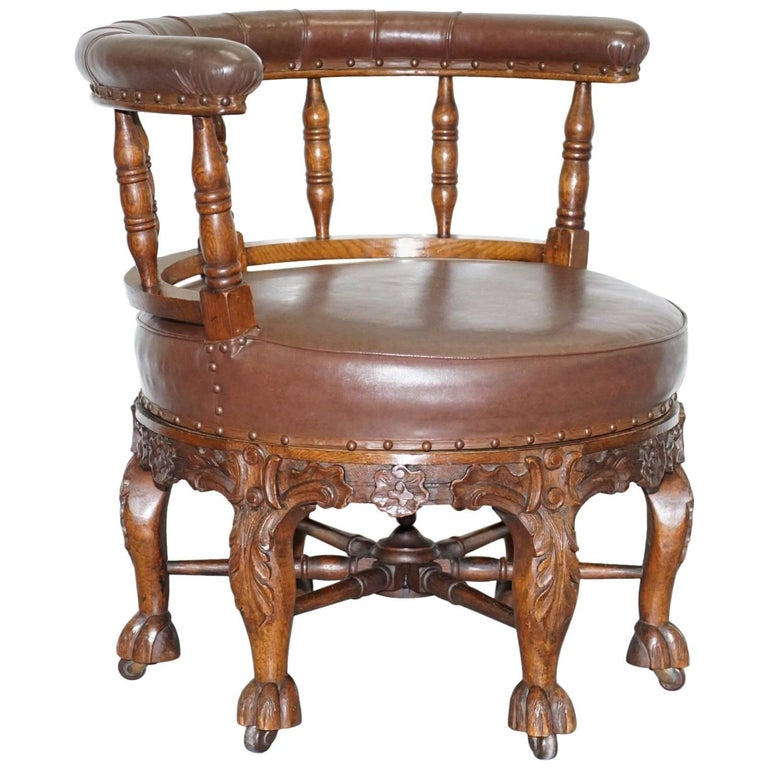 Fully Stamped 1860 Antique Dutch Colonial Burgermeister Captains Swivel  Chair For Sale - Fully Stamped 1860 Antique Dutch Colonial Burgermeister Captains