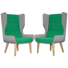 Pair of Naughtone Hush High Wing Back Armchairs Super Contemporary