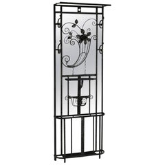 Art Deco Hat and Coat Stand Wrought Iron Mirror Back Umbrella Stick Rack