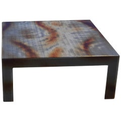 Modern Plexiglass Coffee Table with Flamed Black Metal Mesh Inlay