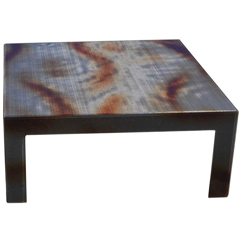 Modern Plexiglass Coffee Table with Flamed Black Metal Mesh Inlay