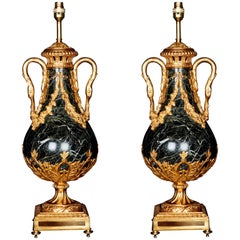 Pair of Bronze Mounted Marble Cassolettes lamps, circa 1880