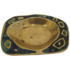 Cast Brass and Azure Stone Dish by Pepe Mendoza