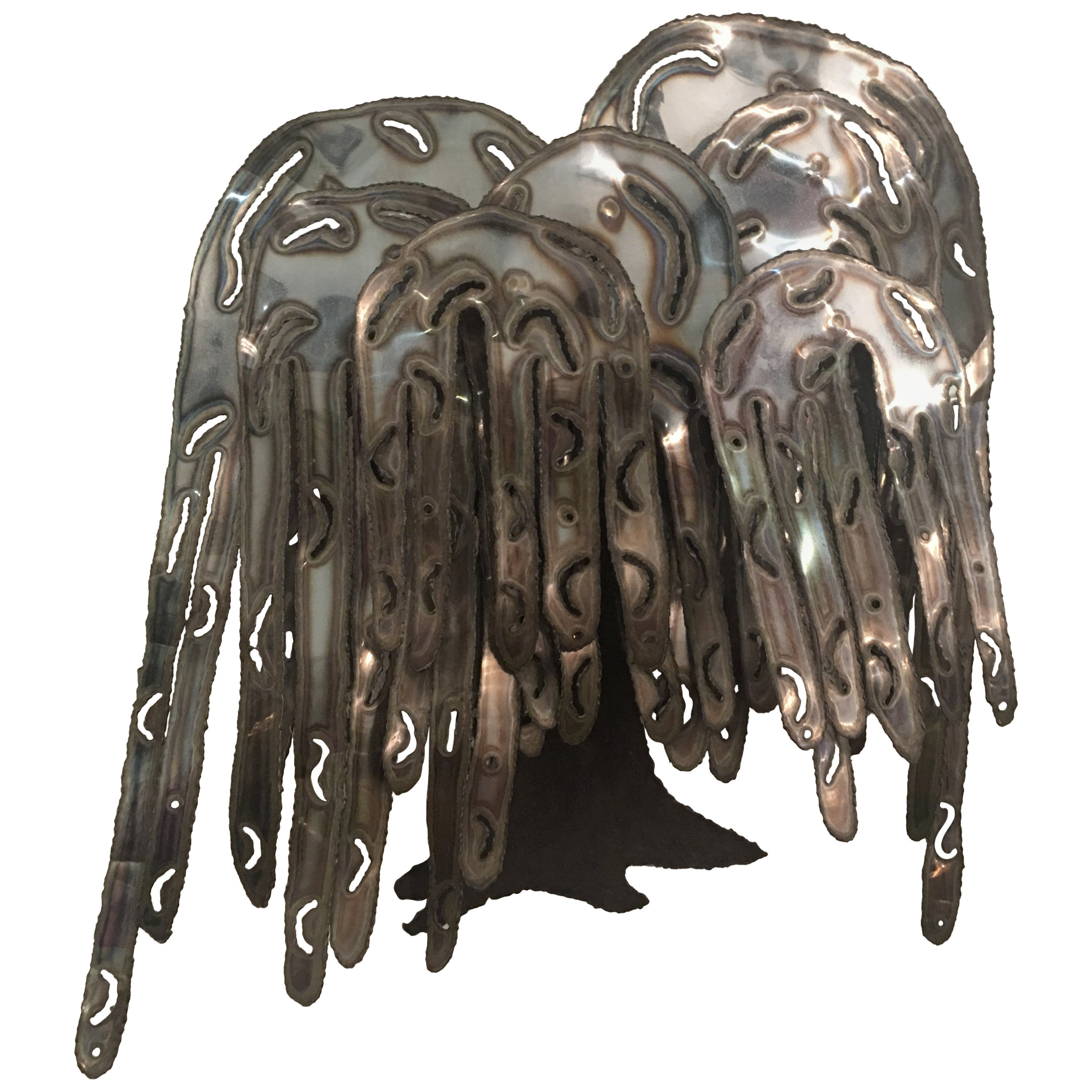 Weeping Willow Tree Metal Wall Art Mid-Century Modern Curtis Jere Style