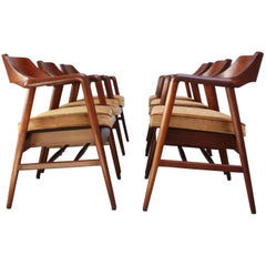 Set of Six W.H. Gunlocke Sculptural Walnut Armchairs