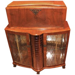 Fruitwood Art Deco Style or Midcentury Bar with Mirrored Decoration