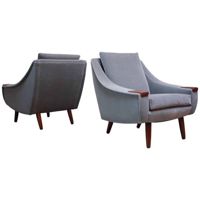 Pair of Danish Modern Teak and Mohair Lounge Chairs