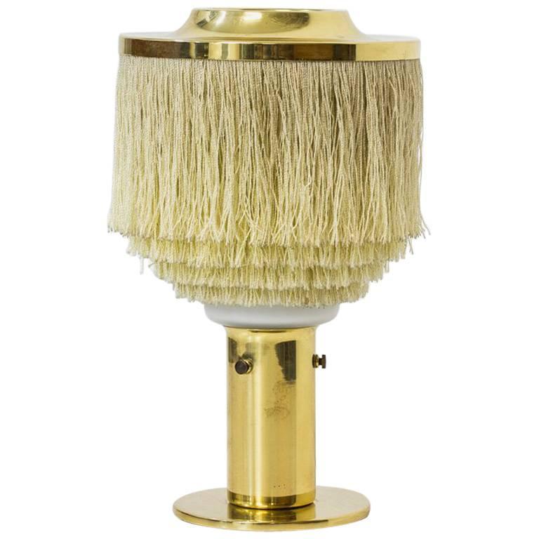 Hans-Agne Jakobsson Model B 145 Silk Fringes Brass and Opaline Glass Table Lamp