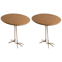 "Pair of Gold ""Traccia"" Tables by Meret Oppenheim"