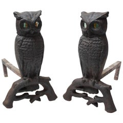 1930s Cast Iron Owl Andirons with Glass Eyes