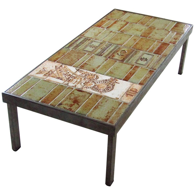 Midcentury French Ceramic Coffee Table by Roger Capron, Vallauris, 1960s