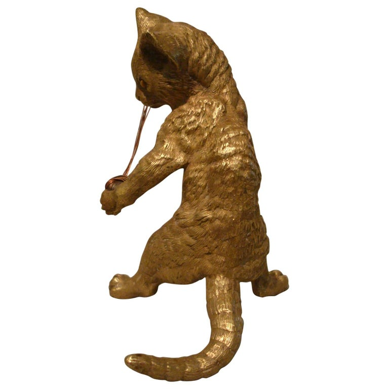 Austrian Vienna Gilt Bronze Figurine of a Cat Playing with a Ball of Wool