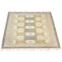 "Scandinavian Modern ""Roläkan"" Flat-Weave Carpet by Ingegerd Silow, 1950s"