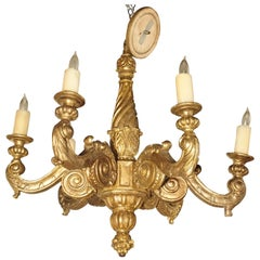Antique French Six-Light Giltwood Chandelier, circa 1850