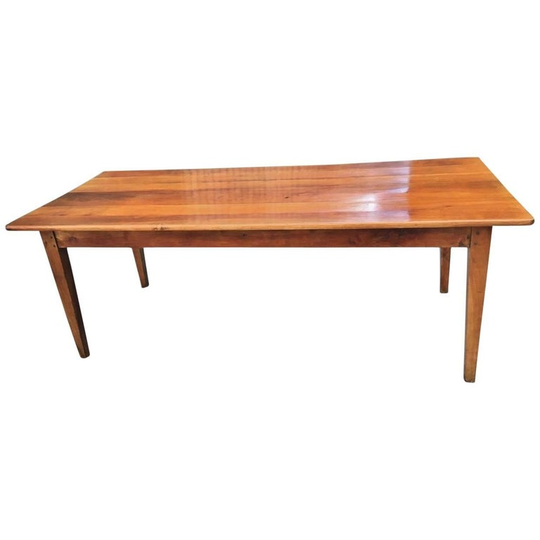 Cherry wood farmhouse table kitchen table dining table for Cherry dining table