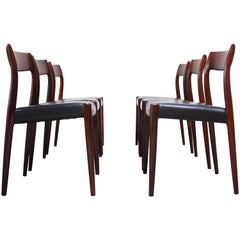 Set of Six Rosewood #77 Dining Chairs by Niels O. Møller